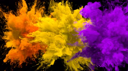 kitörés : Orange, Yellow, Purple Color Burst - Multiple colorful smoke powder explosion fluid ink particles slow motion alpha matte isolated on black