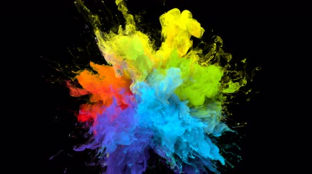 yanma : Color Burst iridescent multicolored colorful rainbow smoke powder explosion fluid ink particles slow motion alpha matte isolated on black Stok Video