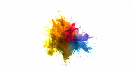 kitörés : Color Burst iridescent multicolored colorful rainbow smoke powder explosion fluid ink particles slow motion alpha matte isolated on white Stock mozgókép