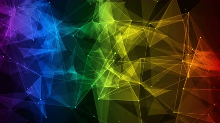 on line : colorful iridescent rainbow abstract digital nodes and polygon connection paths within network or system of networks animation for visuals vj light presentations motion background Loop