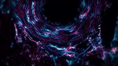 pensamento : Visual representation flying through abstract digital tunnel funnel artificial intelligence neural network. This animation can be used for visuals, vj, light presentations or as motion background
