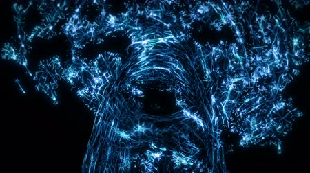 node : Visual representation flying through blue abstract digital tunnel funnel artificial intelligence neural network organic animation visuals, vj, light presentations motion background loop Stock Footage