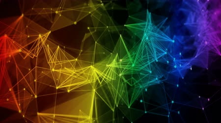 lesbijki : colorful iridescent rainbow abstract polygon binary digital nodes connection paths within network or system of networks animation  for visuals, vj, light presentations motion background Seamless Loop Wideo