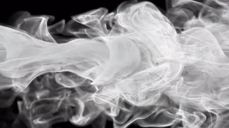 whirling : White color paint ink drops in water slow motion art background with copy space. Inky cloud swirling flowing underwater. Abstract smoke fluid  liquid animation isolated on black alpha channel Stock Footage