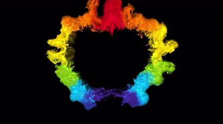 em forma de : Iridescent multicolored heart shaped Valentines Day particle burst. Vivid rainbow colored smoke shockwave. Romantic lovely logo and copy space animation. Isolated on black alpha copyspace 4k 60fps Stock Footage