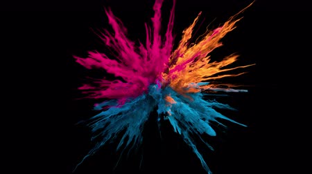 Pink orange blue color burst - colorful smoke powder explosion of swirly particles or fluid ink in slow motion. Alpha matte isolated on black 60 fps 影像素材