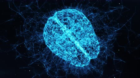 intelectual : Animación 3D conceptual de holograma de cerebro digital giratorio Ai Inteligencia Artificial Deep Data Machine Learning Tecnología de red neuronal virtual Seamless Science Technology Motion Background loop 4k