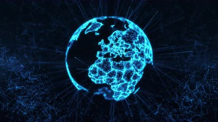Digital globe big data social network blue Earth hologram flying in cyberspace rotating scientific 3D planet futuristic technology connectivity business technology abstract concept 4k loop background Stok Video
