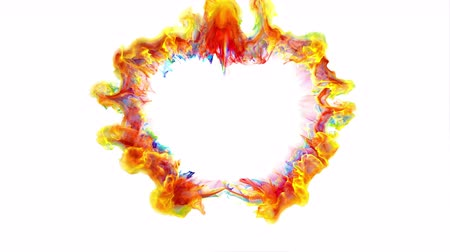 Iridescent multicolored heart shaped Valentines Day particle love burst. Vivid rainbow colored shockwave. Romantic lovely logo and copy space animation. Isolated on white alpha copyspace 4k 60fps