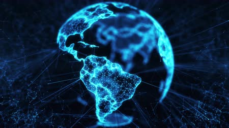 Blue Digital Globe with big data social network. Earth hologram flying in cyberspace. Rotating scientific 3D planet with futuristic business technology. Abstract connectivity concept. Background loop 影像素材
