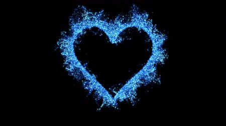 art : Blue sapphire shining heart shaped glitter background. St. Valentines Day love animation. Blurry bokeh defocused sparkles. Vivid colored glowing particles. Romantic lovely logo copy space. alpha 4k
