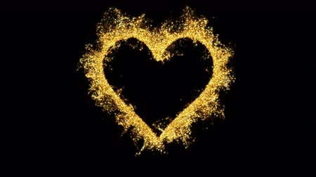 Golden shining heart shaped glitter background. St. Valentines Day love animation. Blurry bokeh defocused sparkles. Vivid colored glowing particles. Romantic lovely logo copy space. alpha copyspace 4k
