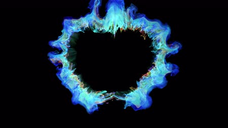 colorful blue heart shaped Valentines Day particle love burst. Vivid colored smoke shockwave. Romantic lovely logo and copy space animation. Isolated on black alpha copyspace 4k 60fps