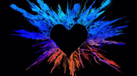 Iridescent Valentines Day color burst forming a heart shaped hole. Vivid rainbow colored smoke powder explosion. Romantic colorful lovely ink logo and copy space. Isolated on black alpha copyspace