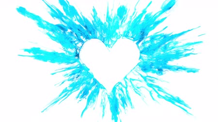 Valentines Day blue color burst forming a heart shaped hole. Vivid colored smoke powder explosion. Romantic colorful lovely ink logo and copy space. Isolated on white alpha copyspace