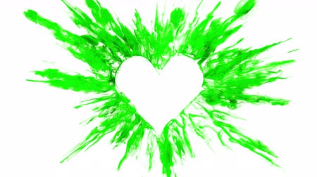 Valentines Day green color burst forming a heart shaped hole. Vivid colored smoke powder explosion. Romantic colorful lovely ink logo and copy space. Isolated on white alpha copyspace