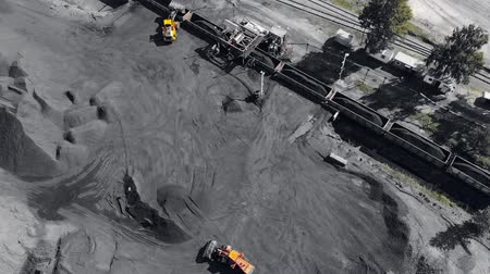 Open pit mine, extractive industry for coal, top view aerial drone