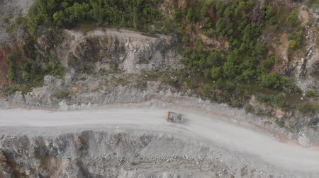Aerial view drone Open pit mine, digging for gold, minerals, iron ore, marble extractive industry Vídeos
