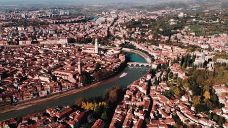 Aerial view Cityscape of Verona city and Arena, Italy drone, Veneto region.