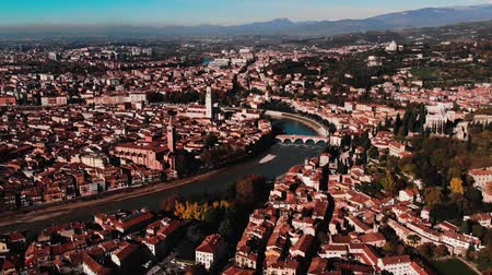 terrakotta : Aerial view Cityscape of Verona city and Arena, Italy drone, Veneto region.