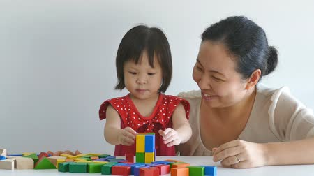 kreş : Little asian girl and mother playing with colorful construction blocks on table