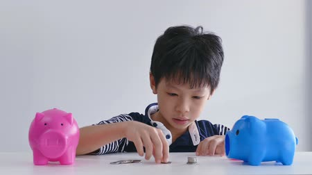 bank : Asian boy counting coins from piggy bank and put together, white background