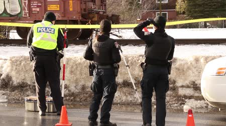 lieutenant : Police officers investigate a train incident involving a pedestrian in the winter during daytime Stock Footage