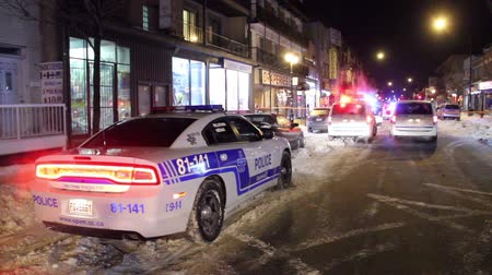 prowl : Modern marked police vehicle parked on a snowy street with lights on