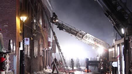 firemen : Fireman on top of ladder directing controller Fire officer standing on top of ladder giving direction to colleague at structure fire with smoke Stock Footage