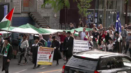 filistin : Hasidic Jewish people marching and protesting Male and female jewish march and protest with signs and flags in support for Palestine