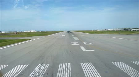 no ramp : Start of major airport runway seen from cockpit windows  - Commercial license no logo no face Stock Footage