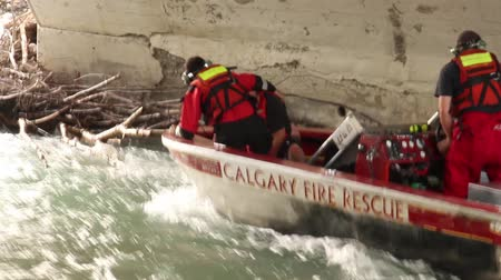 Water rescue crews pulling man out of water with heavy current into a boat Stock Footage