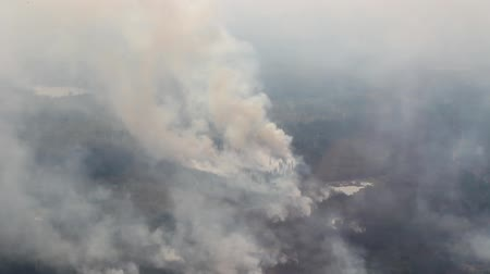 Aerial view of large smoke column rising from wildfire with lakes