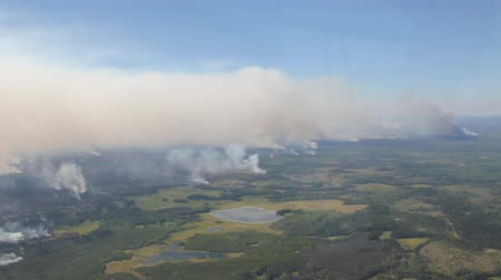Large scale forest fire burning with smoke viewed from helicopter in flight