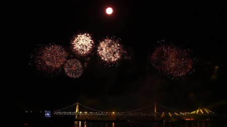 Light beam rotating from bridge at night during pyrotechnic show on the bay Stock Footage