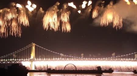 Pyrotechnic display over the bay with curtain of fireworks falling from bridge Stock Footage