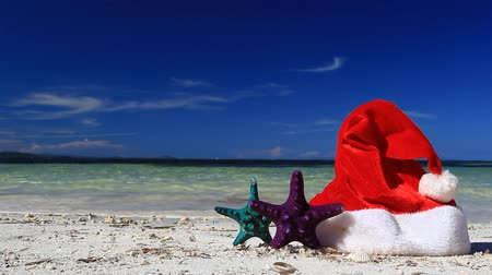 santa : Santa Claus hat and starfish on tropical beach, footage