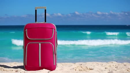 vacation destination : One pink suitcase on sandy tropical beach. Vacation concept Stock Footage