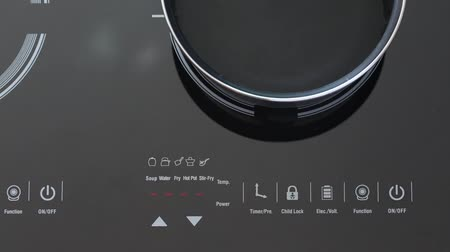 cooktop : Boiling water at pan on Induction stove top panel, closeup