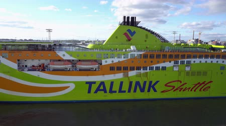 morze bałtyckie : HELSINKI, FINLAND - SEPTEMBER 20 2016: Tallink Shuttle cruise liner leaving harbor. It is one of the largest passenger and cargo shipping companies in the Baltic Sea region
