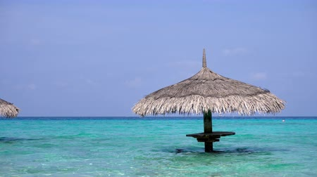 jamaica : Grass palm leaf sun umbrella in tropical sea with turquoise and transparent water. Maldive destinations. Travel and vacation on maldivian