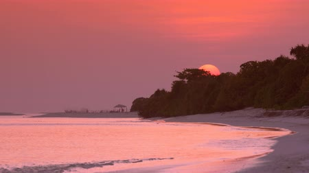 sand bank : View at sunset on maldivian island