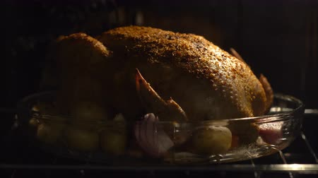 oven chicken : Cooking turkey on thanksgiving day celebration