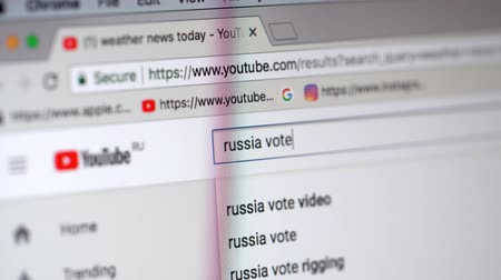žádost : Making a request Russia Vote 2018 at Youtube homepage displayed in browser on laptop monitor