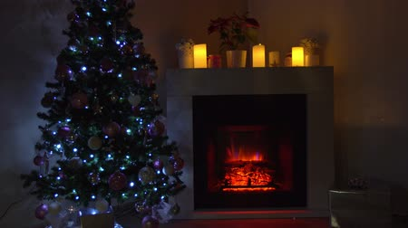 meias : Fir tree near fireplace decorated for Christmas holidays
