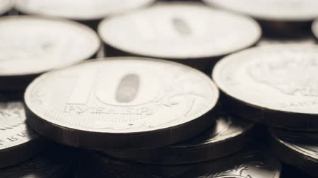 торговый : Rubles coins rotating, closeup. Nobody