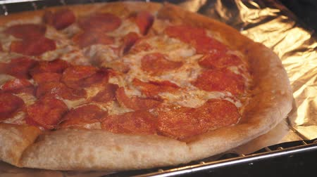 calabresa : Pizza cooking in modern oven at home