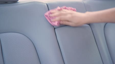 myjnia samochodowa : Woman cleaning the interior of the car Wideo