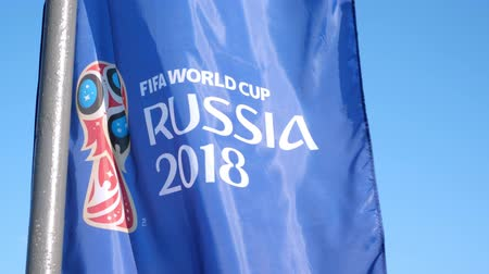 logo elements : FIFA World Cup 2018 Flag waving on wind at the street