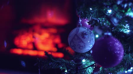 камин : New year fir tree decorated christmas balls and toys
